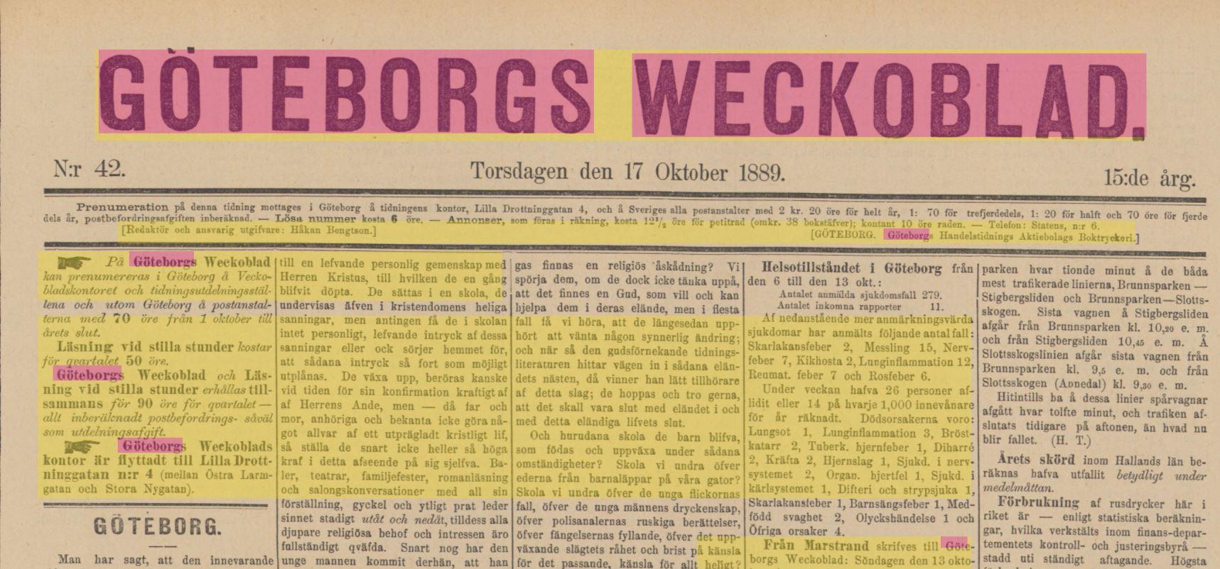 J. W. A. YLLANDERS DAGBOK 1889:  Oktober D. 19 L.